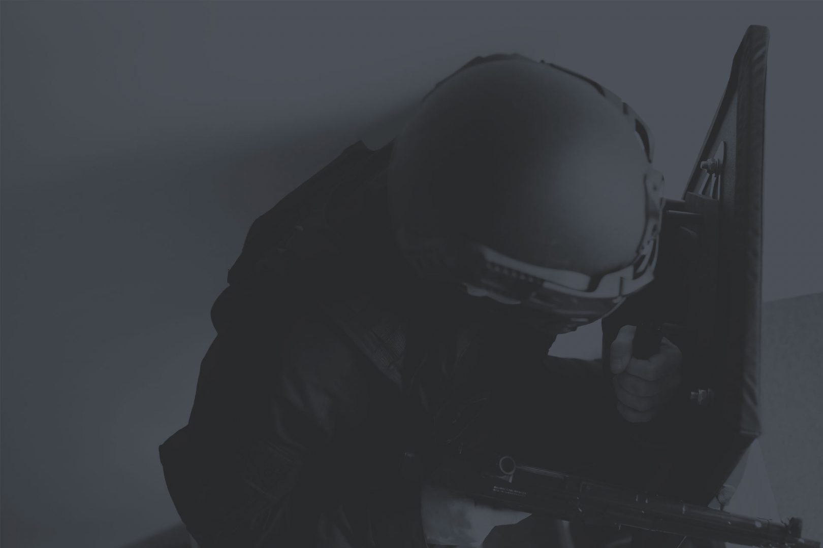 Holding A Ballistic Shield Dark Duotone