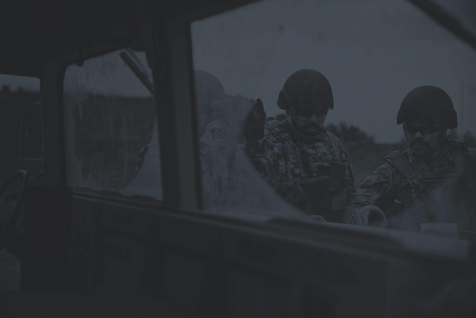 Soldiers Wearing LASA AC914 Ballistic Helmet Dark Duotone