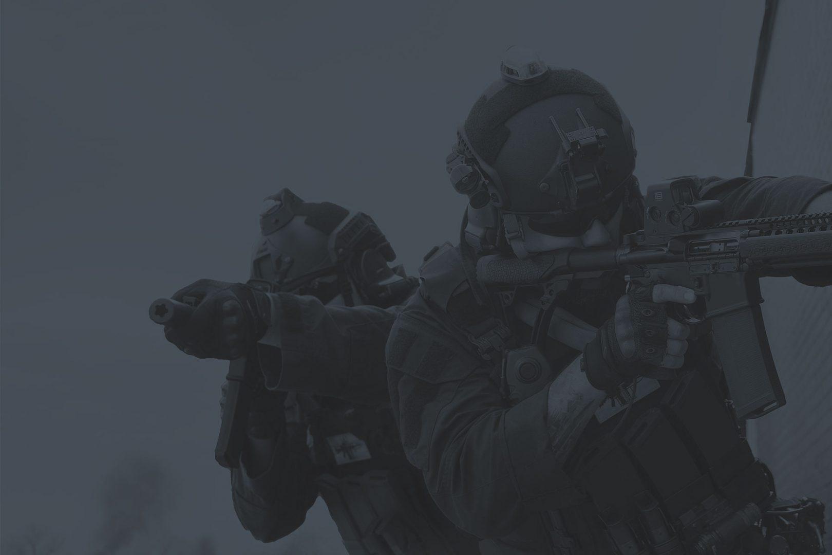 Soldiers Wearing LASA AC915 Ballistic Helmet Dark Duotone